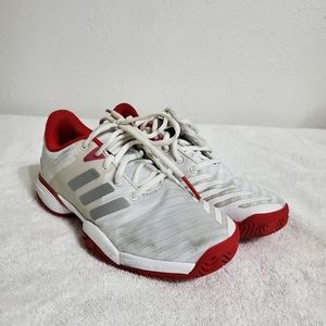 Adidas Men's Barricade Red and White Tennis Shoes